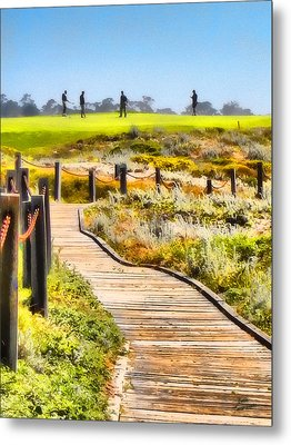 Metal Print featuring the photograph Golf At Pebble Beach by Kathy Tarochione