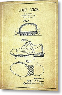 Golf Shoe Patent Drawing From 1931 - Vintage Metal Print