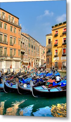 Gondolas In The Square Metal Print by Peter Tellone