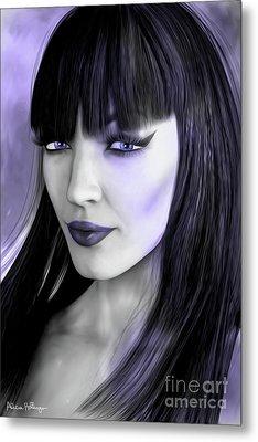 Goth Portrait Purple Metal Print