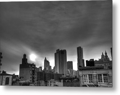 Gotham Black And White Metal Print by Randy Aveille