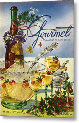 Gourmet Cover Featuring A Bowl And Glasses Metal Print by Henry Stahlhut