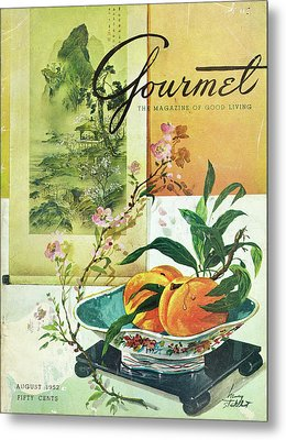 Gourmet Cover Featuring A Bowl Of Peaches Metal Print by Henry Stahlhut
