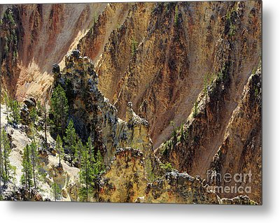 Grand Canyon Of The Yellowstone From North Rim Drive Metal Print by Louise Heusinkveld