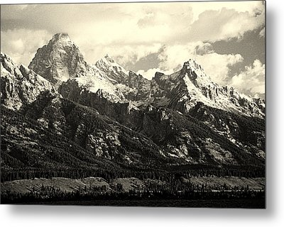 Grand Teton Range In Vintage Light Metal Print by The Forests Edge Photography - Diane Sandoval
