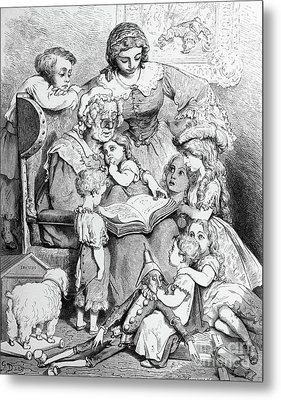 Grandmother Telling A Story To Her Grandchildren Metal Print