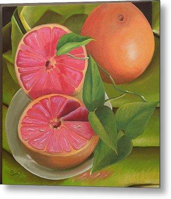 Grapefruit On Fabric Metal Print by Barbara Auito