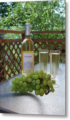Grapes And Wine Metal Print