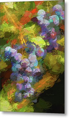 Grapes In Abstract Metal Print by Penny Lisowski