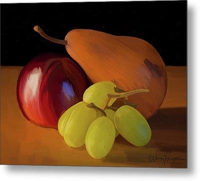 Grapes Plum And Pear 01 Metal Print by Wally Hampton