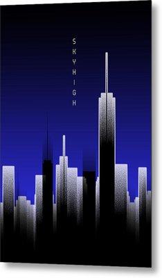 Graphic Art Skyhigh Lights - Blue Metal Print