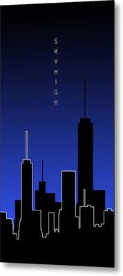 Graphic Art Skyhigh Panoramic - Blue Metal Print