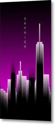 Graphic Art Skyhigh Panoramic Lights - Pink Metal Print