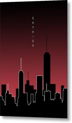 Graphic Art Skyhigh - Red Metal Print