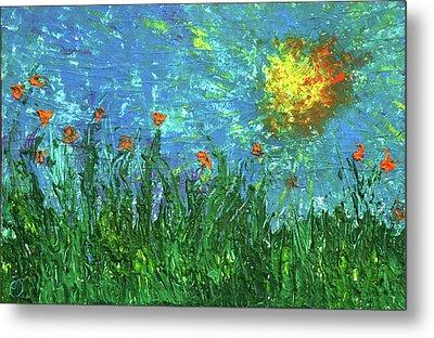 Grassland With Orange Flowers Metal Print by Erik Tanghe