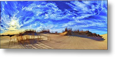 Grassy Dunes At Sandhills Metal Print by ABeautifulSky Photography