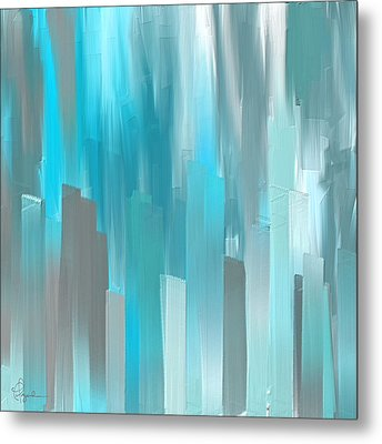 Gray And Teal Abstract Art Metal Print by Lourry Legarde