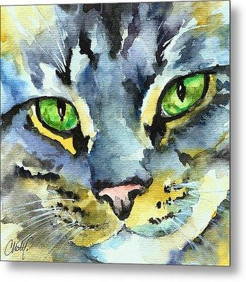 Gray Tabby Striped Cat Metal Print by Christy  Freeman