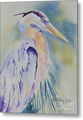 Metal Print featuring the painting Great Blue Heron by Mary Haley-Rocks