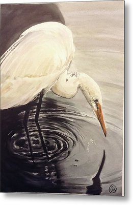 Great Egret , Mirror Metal Print
