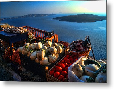 Greek Food At Santorini Metal Print by David Smith