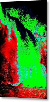 Green And Red Nightfall Metal Print by Erika Swartzkopf