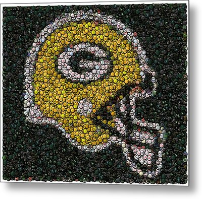Green Bay Packers Bottle Cap Mosaic Metal Print