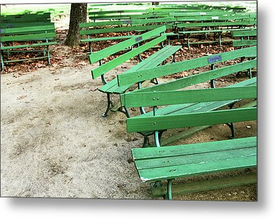 Green Benches- Fine Art Photo By Linda Woods Metal Print