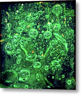 Green Bubbles Floating Metal Print