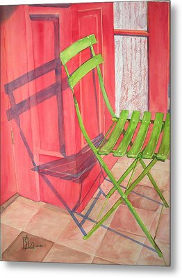 Green Chair Metal Print