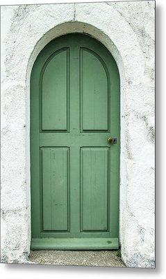 Green Church Door Iv Metal Print by Helen Northcott