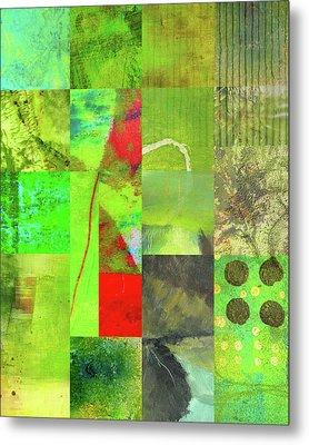 Green Grid Metal Print by Nancy Merkle