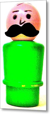 Green Man Mustache Metal Print