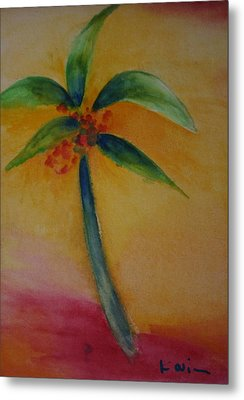 Metal Print featuring the painting Green Palm by Karin Eisermann