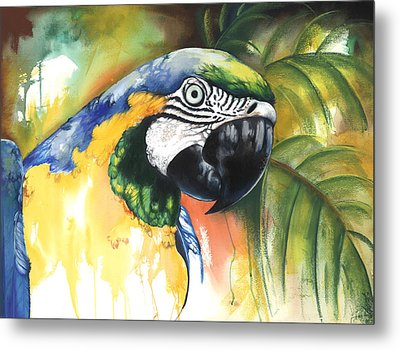 Metal Print featuring the mixed media Green Parrot by Anthony Burks Sr