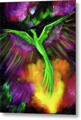 Green Phoenix In Bright Cosmos Metal Print