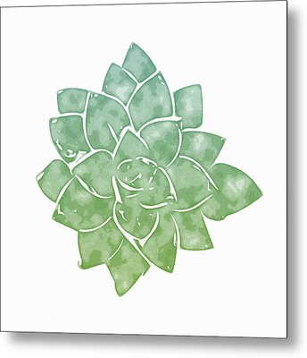 Green Succulent 1- Art By Linda Woods Metal Print by Linda Woods