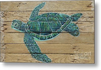 Green Turtle Metal Print by Danielle Perry