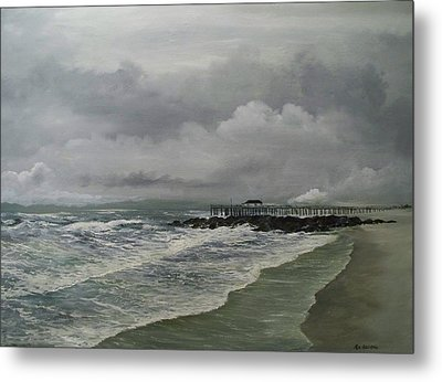 Metal Print featuring the painting Grey Day At Ocean Grove by Ken Ahlering