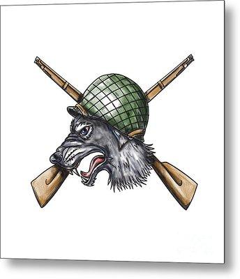 Grey Wolf Ww2 Helmet Crossed Rifles Tattoo Metal Print by Aloysius Patrimonio