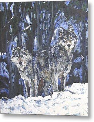 Grey Wolves Metal Print by Debora Cardaci