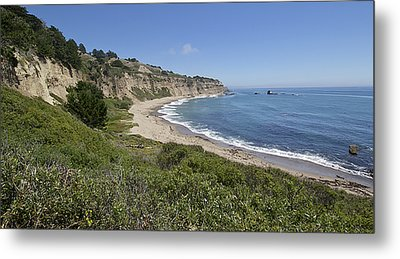 Greyhound Rock Beach Panorama - Santa Cruz - California Metal Print by Brendan Reals