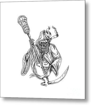 Grim Reaper Lacrosse Defense Pole Tattoo Metal Print by Aloysius Patrimonio