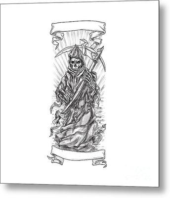 Grim Reaper Scythe Ribbon Tattoo Metal Print by Aloysius Patrimonio