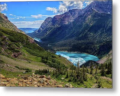 Grinell Hike In Glacier National Park Metal Print by Andres Leon