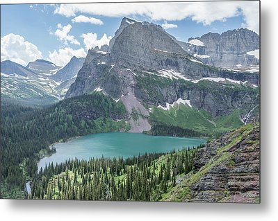 Grinnell Lake From Afar Metal Print by Alpha Wanderlust