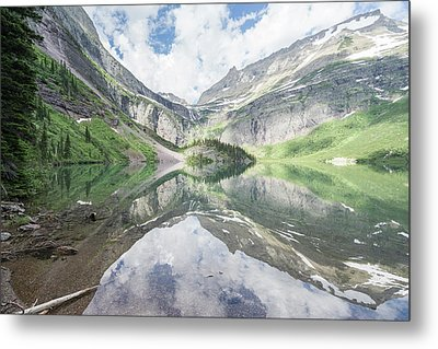 Grinnell Lake Mirrored Metal Print by Alpha Wanderlust