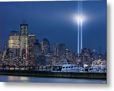 Ground Zero Tribute Lights And The Freedom Tower Metal Print by Chris Lord