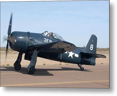 Grumman F8f-1 Bearcat Nl9g Casa Grande Airport Arizona March 5 2011 Metal Print by Brian Lockett