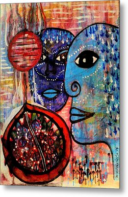 Metal Print featuring the painting Guarding The Pomegranate by Mimulux patricia no No